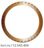 Купить «A brass bezel segmented into 360 degrees over a white background», иллюстрация № 12543404 (c) PantherMedia / Фотобанк Лори