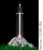 Купить «Excalibur King Arthurs sword in the stone with the heavenly light», иллюстрация № 12591352 (c) PantherMedia / Фотобанк Лори
