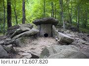 Купить «Каменный дольмен в горах Кавказа сложенный из каменных плит. Краснодарский край.», фото № 12607820, снято 16 августа 2015 г. (c) Nikolay Pestov / Фотобанк Лори
