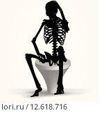 Купить «skeleton silhouette in thinking pose», иллюстрация № 12618716 (c) PantherMedia / Фотобанк Лори