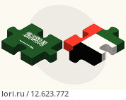 Купить «Saudi Arabia and United Arab Emirates Flags», иллюстрация № 12623772 (c) PantherMedia / Фотобанк Лори