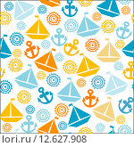 Купить «Cartoon seamless pattern with sail boats, anchors and stylized sun», иллюстрация № 12627908 (c) PantherMedia / Фотобанк Лори