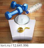 Купить «Fitness and weight loss concept. Weigh scales, dumbells and measuring tape.», фото № 12641996, снято 15 августа 2018 г. (c) Maksym Yemelyanov / Фотобанк Лори