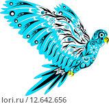 Голубой попугай ара с узорами. Стоковая иллюстрация, иллюстратор Буркина Светлана / Фотобанк Лори