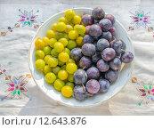 Желтые и синие сливы на тарелке. Стоковое фото, фотограф Алла Черкасова / Фотобанк Лори