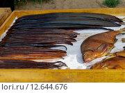 Купить «Копченая рыба на прилавке», эксклюзивное фото № 12644676, снято 26 августа 2015 г. (c) Елена Коромыслова / Фотобанк Лори