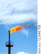 Купить «Нефтеперерабатывающий завод. Пылающий газовый факел», фото № 12644708, снято 12 июня 2010 г. (c) Георгий Shpade / Фотобанк Лори