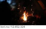 Купить «Костер с искрами на открытом воздухе», видеоролик № 12652324, снято 16 августа 2015 г. (c) Инга Макеева / Фотобанк Лори