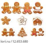 Купить «Christmas gingerbread cookie set», фото № 12653680, снято 17 сентября 2014 г. (c) Николай Охитин / Фотобанк Лори