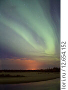 Купить «Northern lights (Aurora Borealis)», фото № 12654152, снято 7 сентября 2015 г. (c) Art Konovalov / Фотобанк Лори