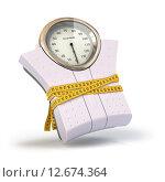Weighting scales with measuring tape. Diet concept. Стоковое фото, фотограф Maksym Yemelyanov / Фотобанк Лори