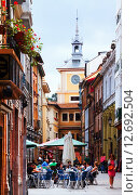 Купить «Pedestrian street at old part of Oviedo», фото № 12692504, снято 2 июля 2015 г. (c) Яков Филимонов / Фотобанк Лори