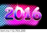 Новогодняя открытка с цифрами 2016. Стоковая иллюстрация, иллюстратор Юлия Горбачева / Фотобанк Лори