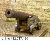Старинная пушка у крепостной стены. Стоковое фото, фотограф Нефедьев Леонид / Фотобанк Лори