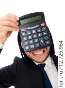 Купить «Man with calculator isolated on white», фото № 12726964, снято 7 января 2015 г. (c) Elnur / Фотобанк Лори
