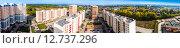 Купить «Самара. Панорама города, вид сверху, с высоты крыши 17-этажного дома», фото № 12737296, снято 20 сентября 2015 г. (c) Сергей Лысенко / Фотобанк Лори