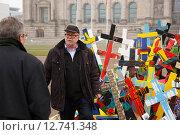 Купить «Berlin, Germany, 170 crosses remember the 17 million dead of World War I», фото № 12741348, снято 13 ноября 2014 г. (c) Caro Photoagency / Фотобанк Лори
