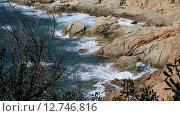 Купить «Испания, Каталония, Коста Брава, побережье Lloret de Mar», видеоролик № 12746816, снято 24 сентября 2015 г. (c) Валерий Назаров / Фотобанк Лори