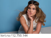 Купить «pretty woman wearing headpiece», фото № 12750144, снято 23 июля 2018 г. (c) PantherMedia / Фотобанк Лори