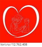 Прививка. Медсестра с шприцем и ребенок в символе сердца на красном фоне. Стоковая иллюстрация, иллюстратор Буркина Светлана / Фотобанк Лори