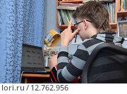 Подросток за ноутбуком выбирает игрушку в интернет-магазине (2015 год). Редакционное фото, фотограф Данилова Наталья / Фотобанк Лори