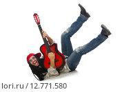 Купить «Male musician with guitar isolated on white», фото № 12771580, снято 17 февраля 2015 г. (c) Elnur / Фотобанк Лори