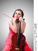 Купить «Young girl with violin on white», фото № 12771608, снято 10 мая 2013 г. (c) Elnur / Фотобанк Лори
