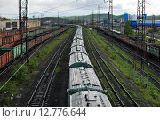Купить «Мурманск. Грузовой поезд», фото № 12776644, снято 9 июня 2015 г. (c) Ирина Здаронок / Фотобанк Лори