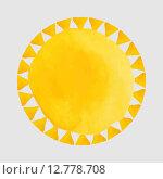 Круглая рамка с акварельными желтыми  треугольниками на сером. Стоковая иллюстрация, иллюстратор Postolatii Natalia / Фотобанк Лори