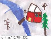 """Детский рисунок: """"Дом и речка зимой"""" Стоковая иллюстрация, иллюстратор Светлана Шимкович / Фотобанк Лори"""