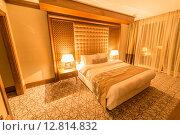 Купить «Hotel room with modern interior», фото № 12814832, снято 20 июня 2015 г. (c) Elnur / Фотобанк Лори