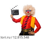 Купить «Funny clown in fun concept isolated on white», фото № 12815548, снято 13 июля 2015 г. (c) Elnur / Фотобанк Лори
