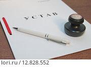 Купить «Регистрация организации. Устав, печать и ручка на столе в офисе», эксклюзивное фото № 12828552, снято 8 октября 2015 г. (c) Илюхина Наталья / Фотобанк Лори