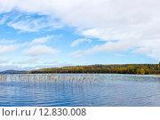 Купить «Живописное озеро в лесу осенью», фото № 12830008, снято 27 сентября 2015 г. (c) Sergei Gorin / Фотобанк Лори
