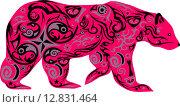Розовый орнаментальный силуэт медведя. Стоковая иллюстрация, иллюстратор Буркина Светлана / Фотобанк Лори