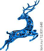Синий орнаментальный силуэт оленя. Стоковая иллюстрация, иллюстратор Буркина Светлана / Фотобанк Лори