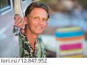 Купить «Cute Smiling Man Outdoors», фото № 12847952, снято 22 января 2019 г. (c) PantherMedia / Фотобанк Лори