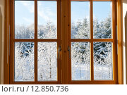 Купить «Современное деревянное окно с видом на зимний солнечный день», фото № 12850736, снято 7 декабря 2010 г. (c) Татьяна Кахилл / Фотобанк Лори