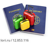 Купить «Travel or tourism concept. Passport and suitcases isolated on white.», фото № 12853116, снято 13 ноября 2018 г. (c) Maksym Yemelyanov / Фотобанк Лори