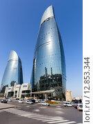Вид на башни Flame Towers - Пламенные Башни. Баку. Азербайджан, фото № 12853344, снято 23 сентября 2015 г. (c) Евгений Ткачёв / Фотобанк Лори