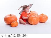 Ребенок в оранжевой футболке сидит в окружении тыкв. Стоковое фото, фотограф Иван Траймак / Фотобанк Лори