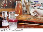Купить «Closeup of restoration of icon», фото № 12857224, снято 17 января 2013 г. (c) Яков Филимонов / Фотобанк Лори