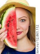Купить «Woman with watermelon isolated on white», фото № 12861112, снято 16 августа 2015 г. (c) Elnur / Фотобанк Лори
