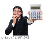 Купить «Man with calculator isolated on white», фото № 12861672, снято 7 января 2015 г. (c) Elnur / Фотобанк Лори