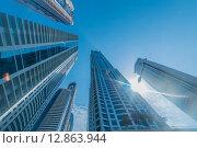 Купить «Tall Dubai Marina skyscrapers in UAE», фото № 12863944, снято 9 августа 2014 г. (c) Elnur / Фотобанк Лори
