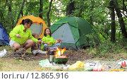 Купить «Семейный кемпинг в лесу, семья жарит зефир», видеоролик № 12865916, снято 16 августа 2015 г. (c) Tatiana Kravchenko / Фотобанк Лори