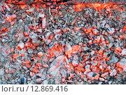 Купить «Красивый костёр с яркими раскалёнными углями», фото № 12869416, снято 3 октября 2015 г. (c) Алексей Маринченко / Фотобанк Лори