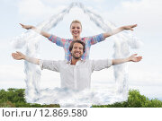 Купить «Composite image of cute couple standing outside with arms outstretched», фото № 12869580, снято 25 марта 2019 г. (c) Wavebreak Media / Фотобанк Лори