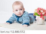 Купить «Веселый малыш в студии на белом фоне», фото № 12880512, снято 19 ноября 2018 г. (c) Efanov Aleksey / Фотобанк Лори