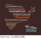 Купить «Merry christmas dove boho tribal stripe shape», иллюстрация № 12893696 (c) PantherMedia / Фотобанк Лори